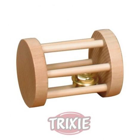 Juguete cilindro de madera con cascabel 7cm