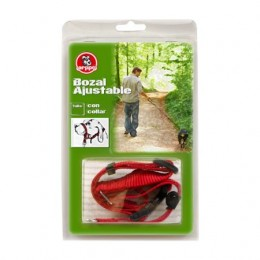 Bozal Ajustable Con Collar para perros Talla S Rojo