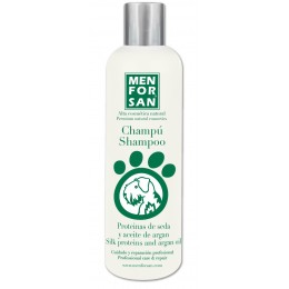Menforsan Champú natural con proteínas de seda y aceite de argán para perros 300 ml.