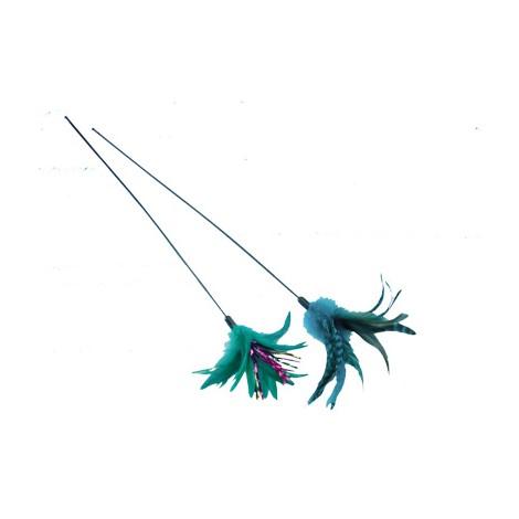 Caña de juguete con pluma para gatos