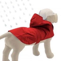 Impermeable rojo con capucha para perro