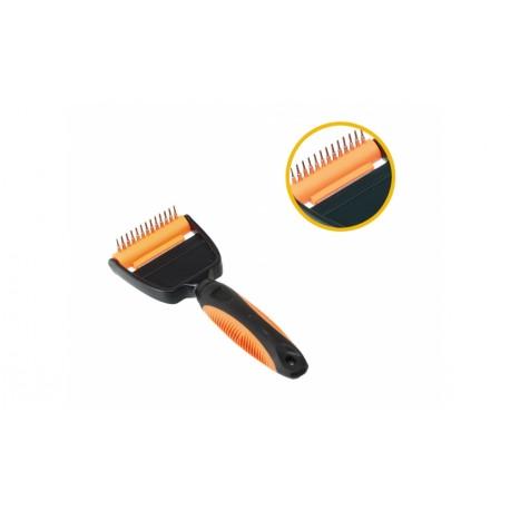 Rastrillo eliminador de pelo muerto con peine incorporado