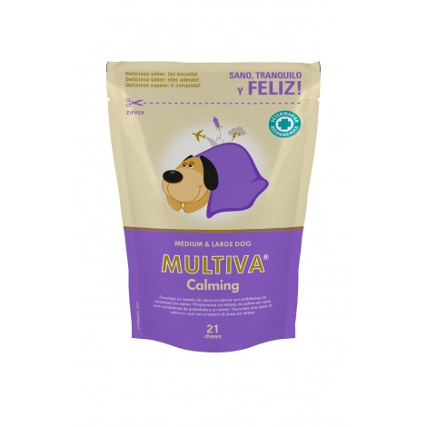 Multiva Calming tranquilizante para perros medianos y grandes 21 comprimidos masticables