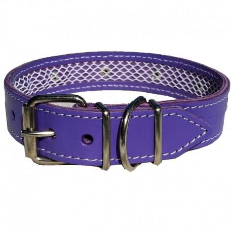 Collar de cuero Tuynec morado 35 cm.