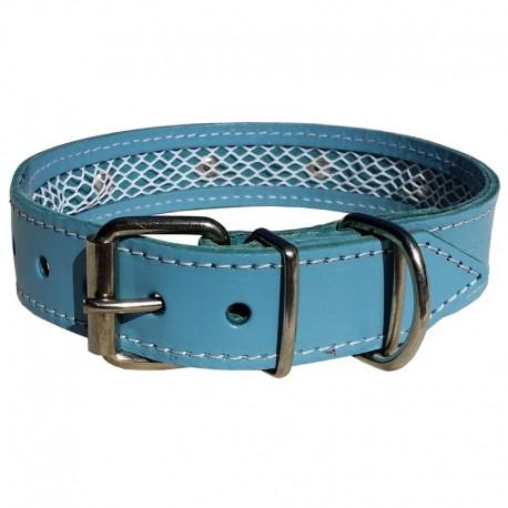 Collar de piel azul Tuynec 35 cm.