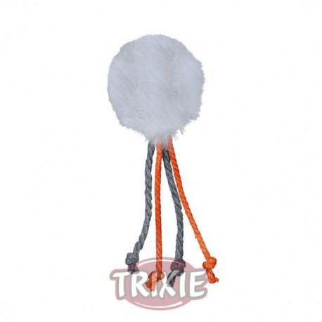 Pelota de peluche con cascabel y cuerdas