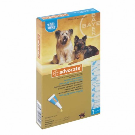 Advocate 4-10 kg. 3 pipetas para perros