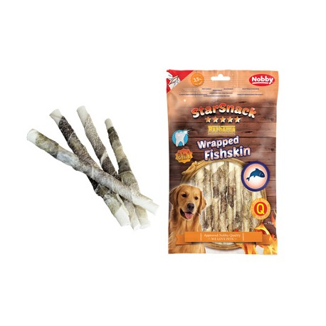 Snack rollitos de piel de buey y pescado