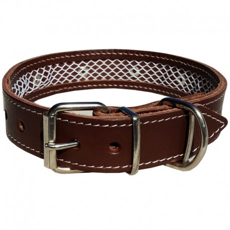 Collar de cuero Tuynec marrón 42 cm.