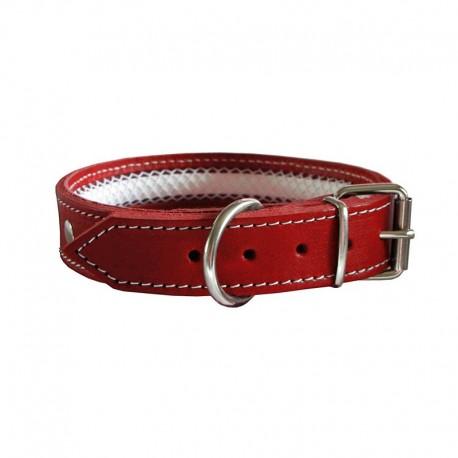 Collar de cuero Tuynec rojo 42 cm.
