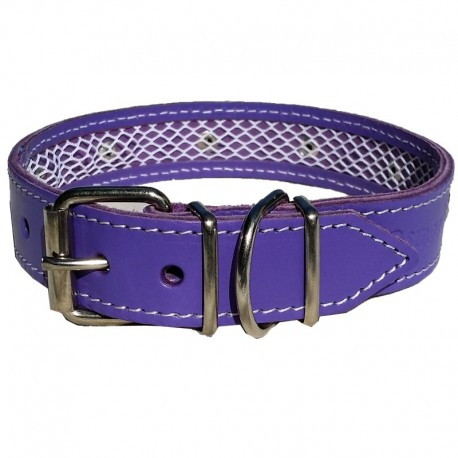 Collar de cuero Tuynec morado 57 cm.