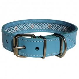 Collar de piel azul Tuynec 65 cm.