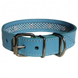 Collar de piel azul Tuynec 75 cm.