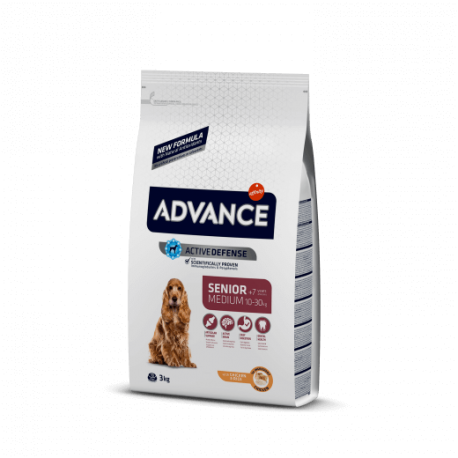 Advance medium senior pollo y arroz 12 kg.