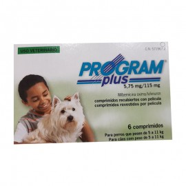 Program Plus 5,75 mg. prevención de pulgas y dirofilariosis para perros de 4,5 a 11 kg.