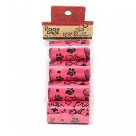 Bolsas recicables rosas recoge cacas Poo Bags 80 ud.