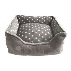 Cuna gris con estrellas para perros pequeños y gatos