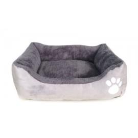 Cuna gris con huella perros pequeños y gatos