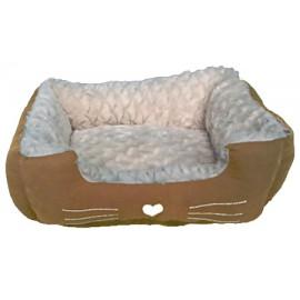 Cuna marrón con corazón para perros pequeños y gatos