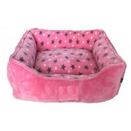 Cuna rosa con estrellas para perros pequeños y gatos