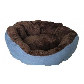Cuna azul y crema para perros pequeños y gatos