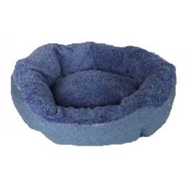 Cuna redonda azul y café para perros pequeños y gatos