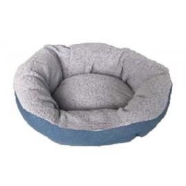 Cuna redonda azul para perros pequeños y gatos