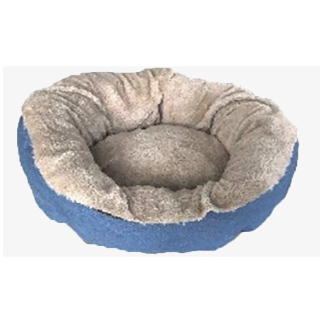 Cuna redonda azul beige para perros pequeños y gatos