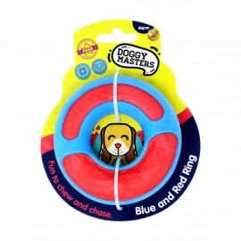 Doggy Masters Anillo Mordedor azul y rojo con sonido para perros