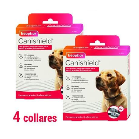 Canishield Collar Antiparasitario perros 65 cm. duplo (pack 4 collares)