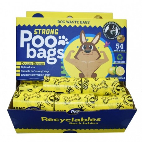 Bolsas reciclables recoge cacas Strong Poo Bags limón 15 ud.